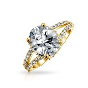 3CT Brilliant Cut Oval Yellow AAA CZ Engagement Ring For Women Split Shank Band Rose Gold Plated 925 Sterling Silver