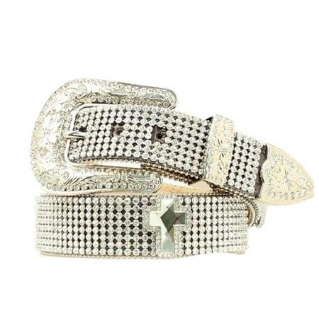 Nocona Western Belt Womens Mesh Crystals Bling Silver Black N3424801