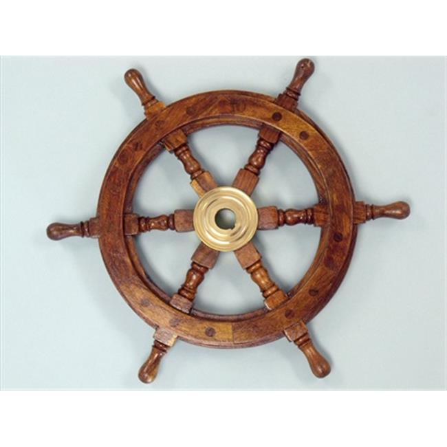 Handcrafted Model Ships SW-1718 Deluxe Class Wood and Brass Ship Wheel 12 inch Ship Wheels Decorative Accent