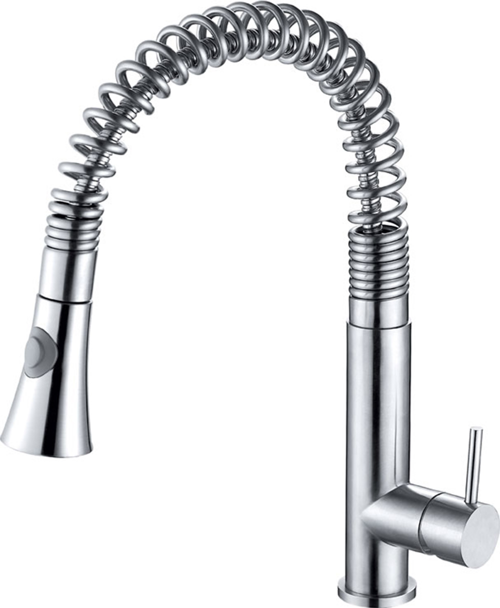 ALFI Brand AB2032 Solid Stainless Steel Commercial Spring Kitchen Faucet  With Pull Down Shower Spray