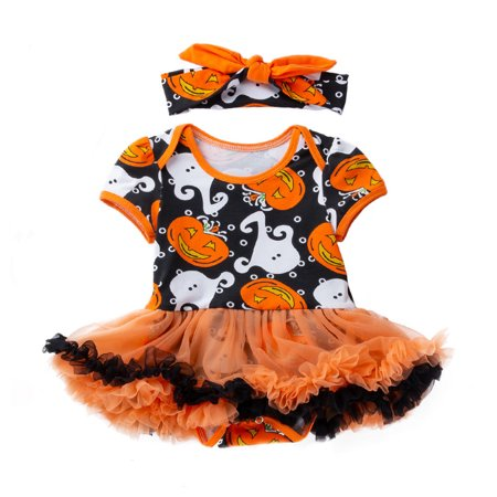 Mosunx Infant Toddler Baby Girls Halloween Pumpkin Bow Party Dress Clothes - Halloween Party Clothes