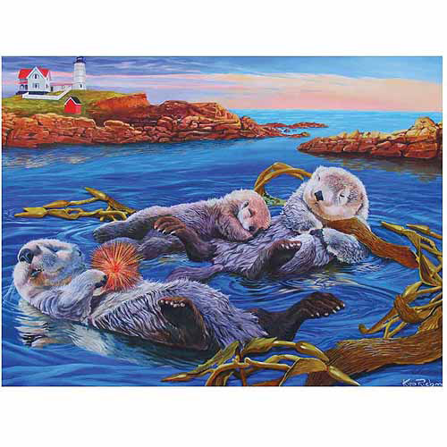 Family Varying Piece Size Puzzle, Sea Otter Family