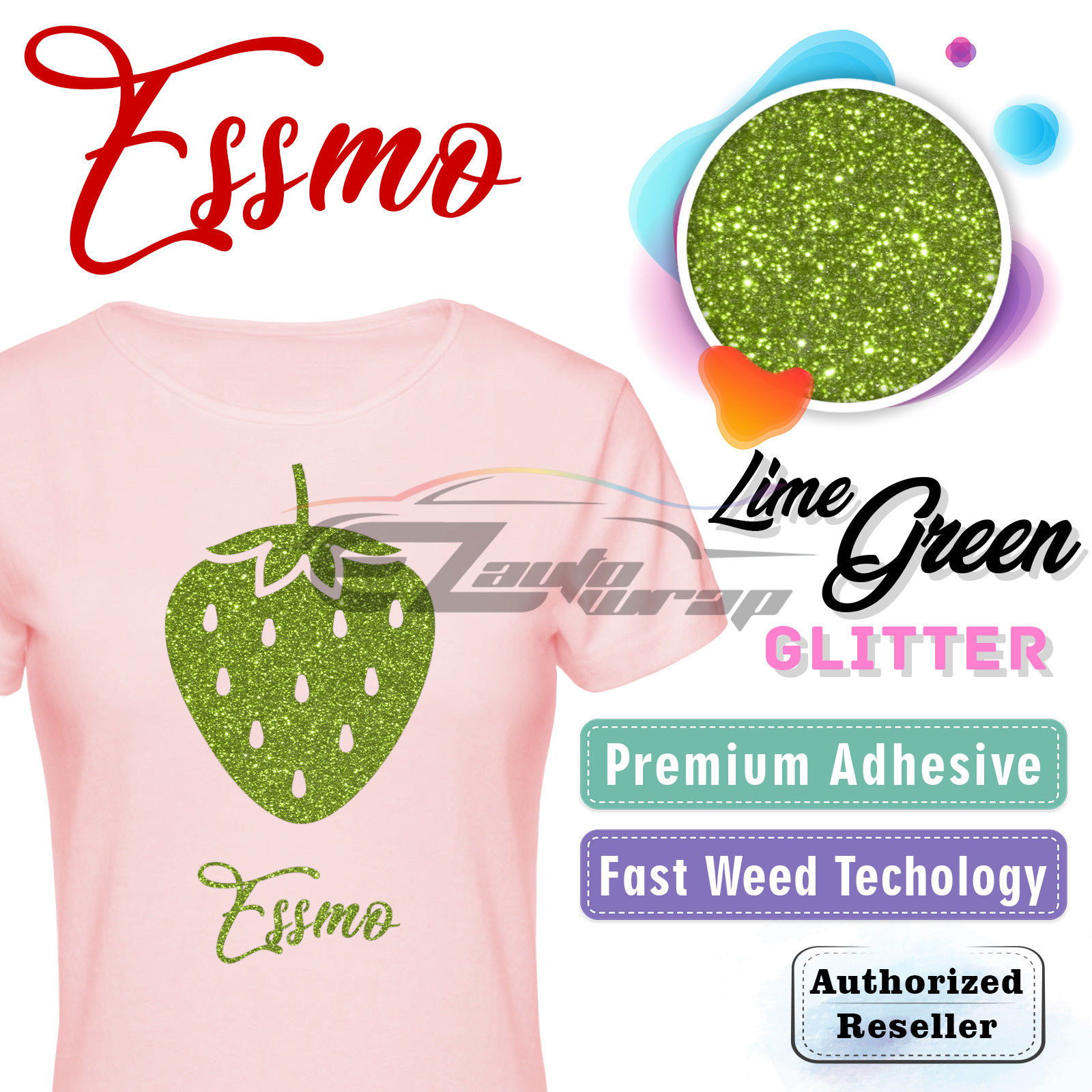 "ESSMO Lime Green Glitter Heat Transfer Vinyl HTV Sheet T-Shirt 20"" Wide Iron On Heat Press 20""x12"""