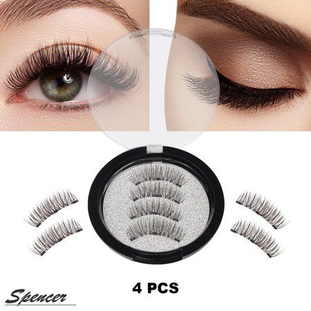 Spencer Upgraded Triple Magnetic False Eyelashes, 4 Pieces/Set 3D Reusable Women Fake Eyelashes Natural No Glue (Eyelashes Makeup)