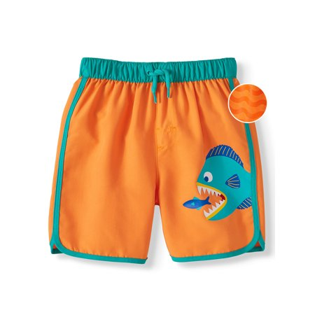 Wonder Nation Pattern-Changing Swim Trunks - Print Appears When Wet (Toddler Boys)