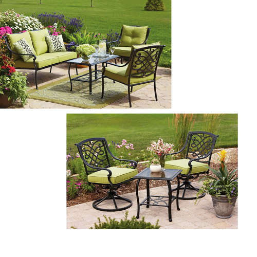Better Homes And Gardens Hillcrest 7 Piece Value Bundle Conversation And Bistro Set: 7 better homes and gardens