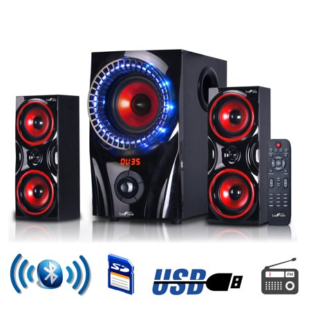 Universal Stereo Speaker System - beFree Sound BFS-99X 2.1 Channel Multimedia Entertainment Shelf Bluetooth Speaker System in Red