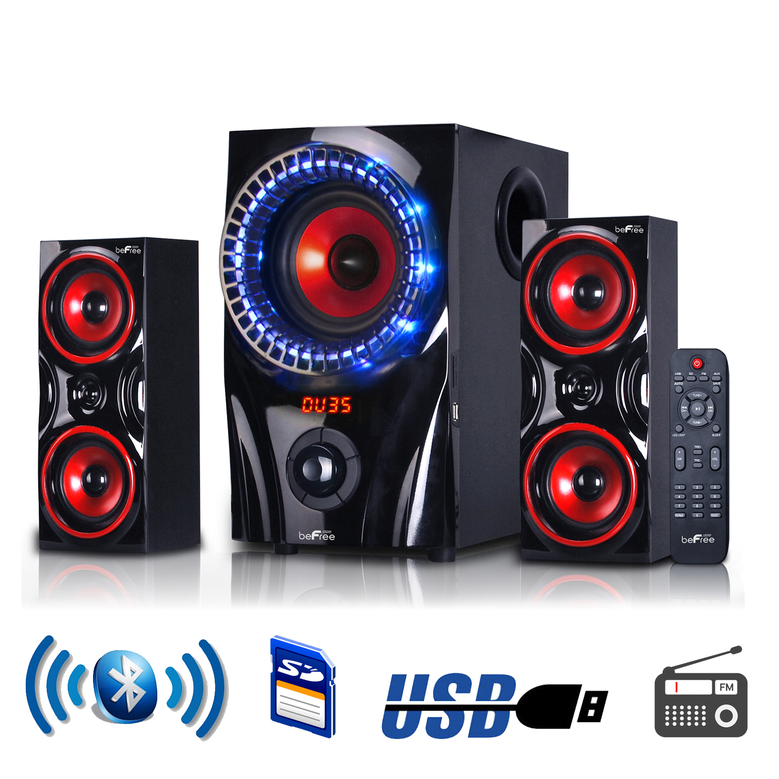 beFree Sound 2.1 Channel Multimedia Entertainment Shelf Bluetooth Speaker System in Red