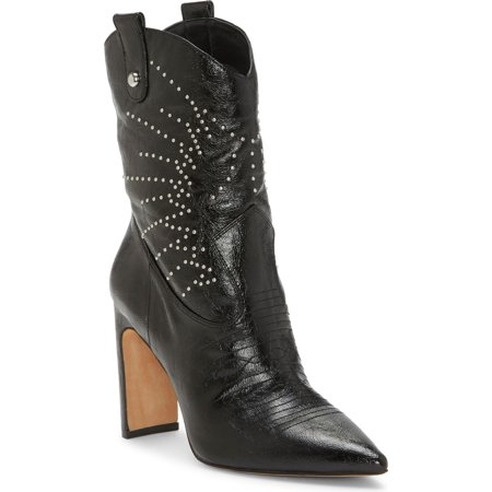 Jessica Simpson Bazil Fashion Boot Black Leather Studded Western Booties (10, black) Red Studded Leather