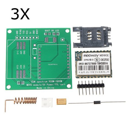 Genuine SP™ 3Pcs DIY M590E GSM GPRS Communication Module Kit Dual Band 900/1800MHZ 85.6 Kbit/s For Dual Band Gsm 900 1800