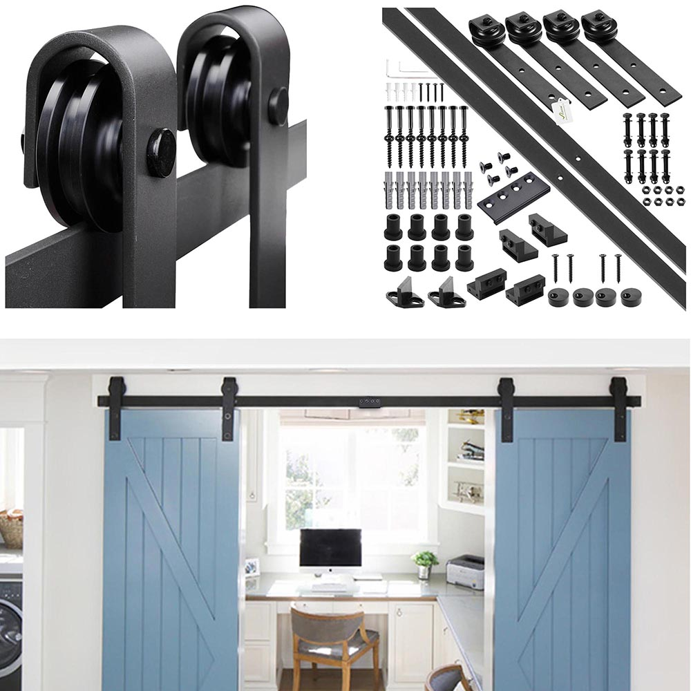 YesHom 10ft Double Barn Wood Door Rustic Sliding Hardware Roller Track Set Black