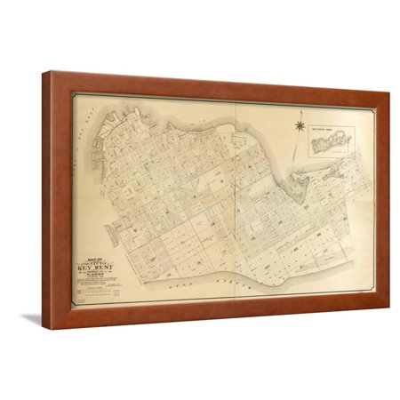 1908, Key West Wall Map from 1829 Maps and Surveys, Florida, United States Framed Print Wall Art