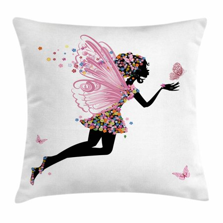 Fairy Throw Pillow Cushion Cover, Floral Arrangement Dress Pattern Winged Girl with Butterflies Cartoon Style Angel, Decorative Square Accent Pillow Case, 16 X 16 Inches, Multicolor, by Ambesonne - Butterfly With Angel Wings