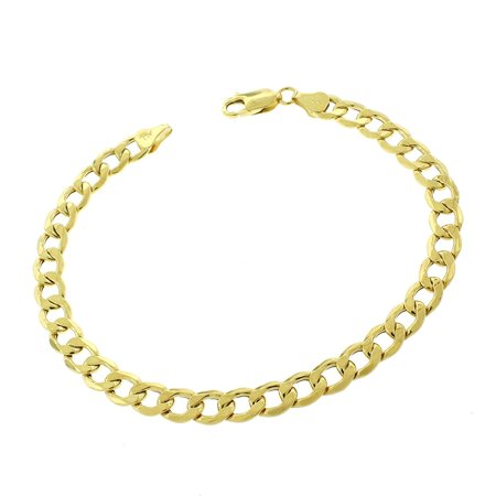 10k Yellow Gold 7mm Hollow Cuban Curb Link Bracelet Chain (Gunmetal Link Bracelet)