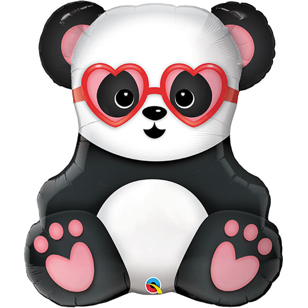 Panda With Heart Foil Balloon 32""
