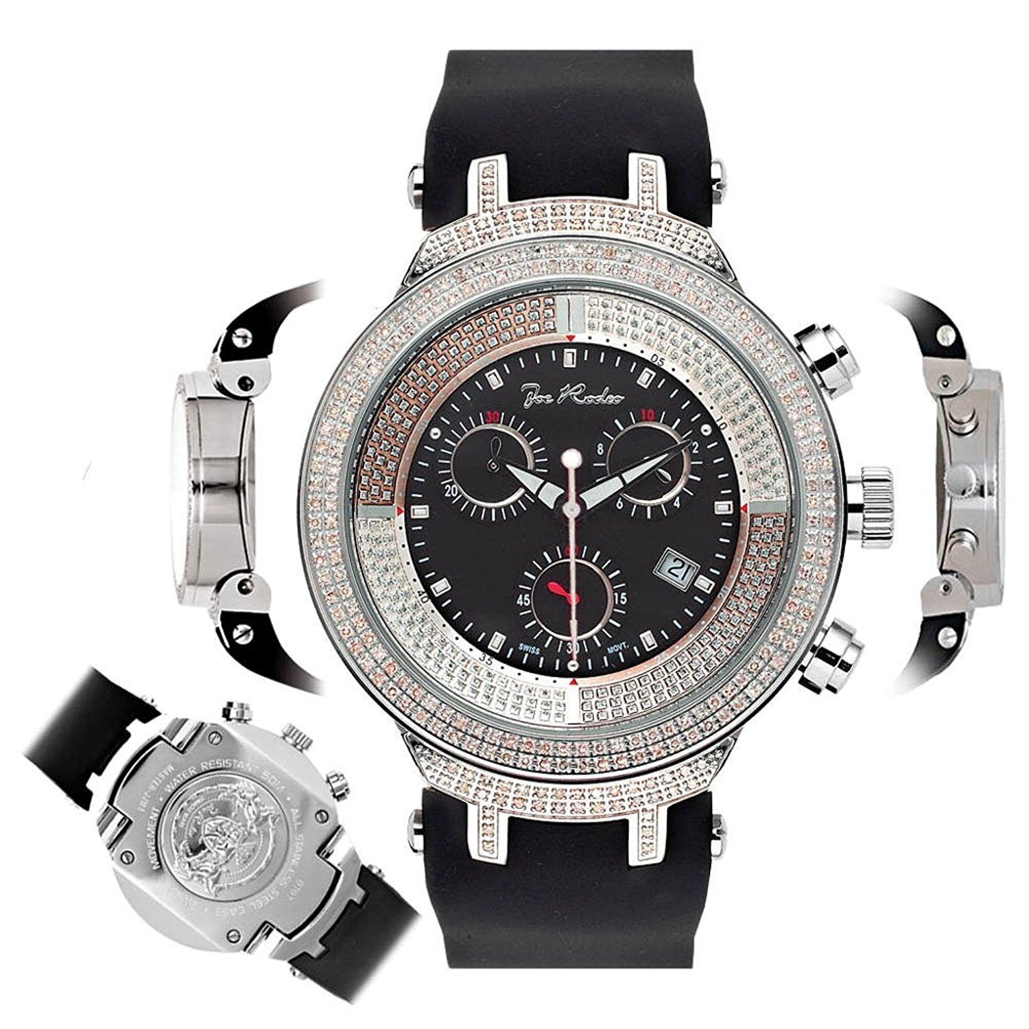 Mens Diamond Watch JJM3 Joe Rodeo Master 2.20 ct Black Dial
