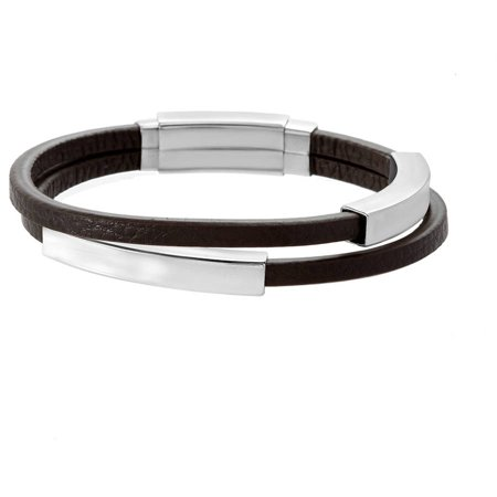 Super Sliding Curve - Reinforcements Silver-Tone Men's Brown Leather Double-Strand Sliding Curved Bar In-and-Out Adjustable Bracelet in Stainless Steel