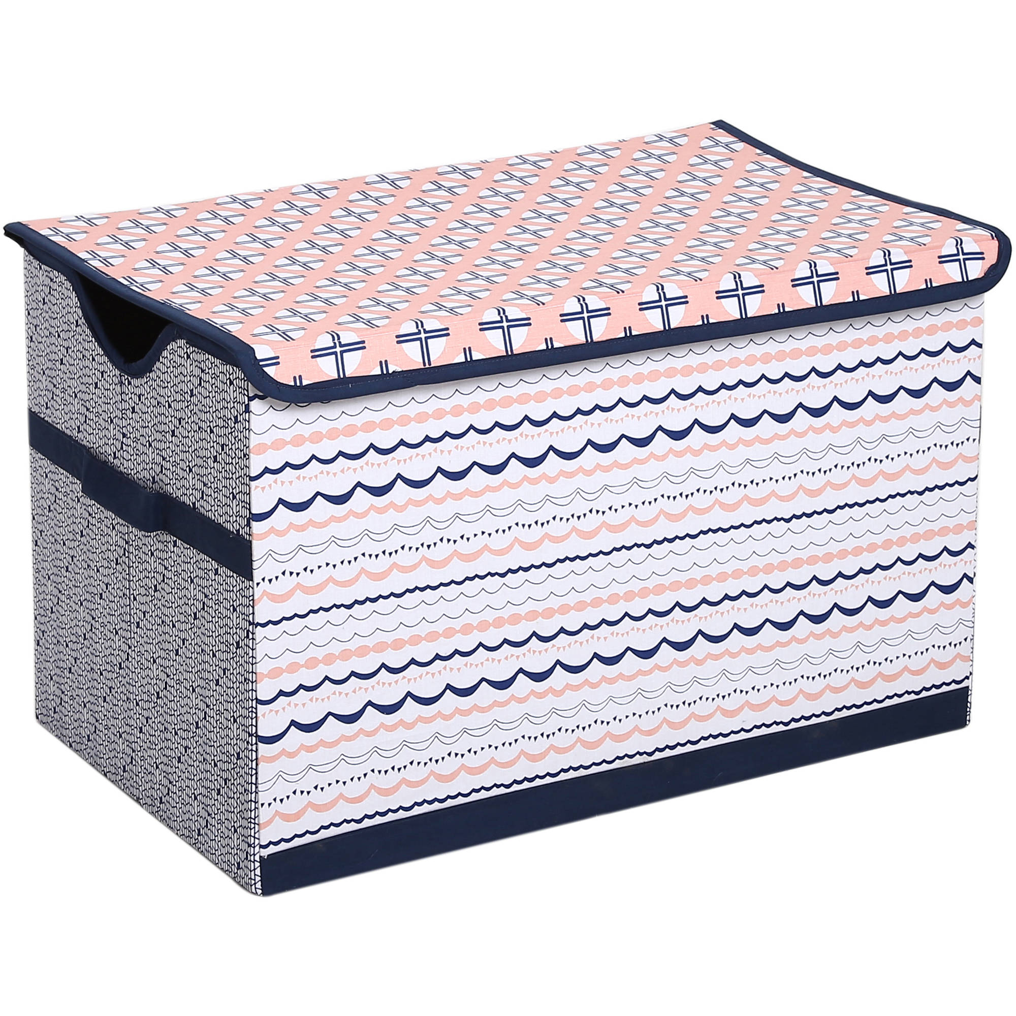 Bacati - Tribal Olivia Coral/NavyCotton Percale Fabric covered Storage, Toy Chest, 24.5 L x 15 W x 14 H inches