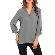 Womens V Neck Tops Loose Baggy Casual Chiffon T Shirt Blouse