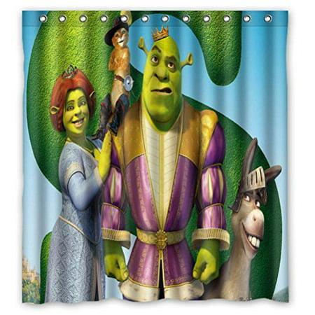 DEYOU Shrek Shower Curtain Polyester Fabric Bathroom Size 66x72 Inch
