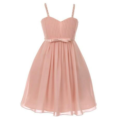 Girls Blush Sequin Bead Chiffon Flower Girl Dress - Beaded Flower Girl Dresses