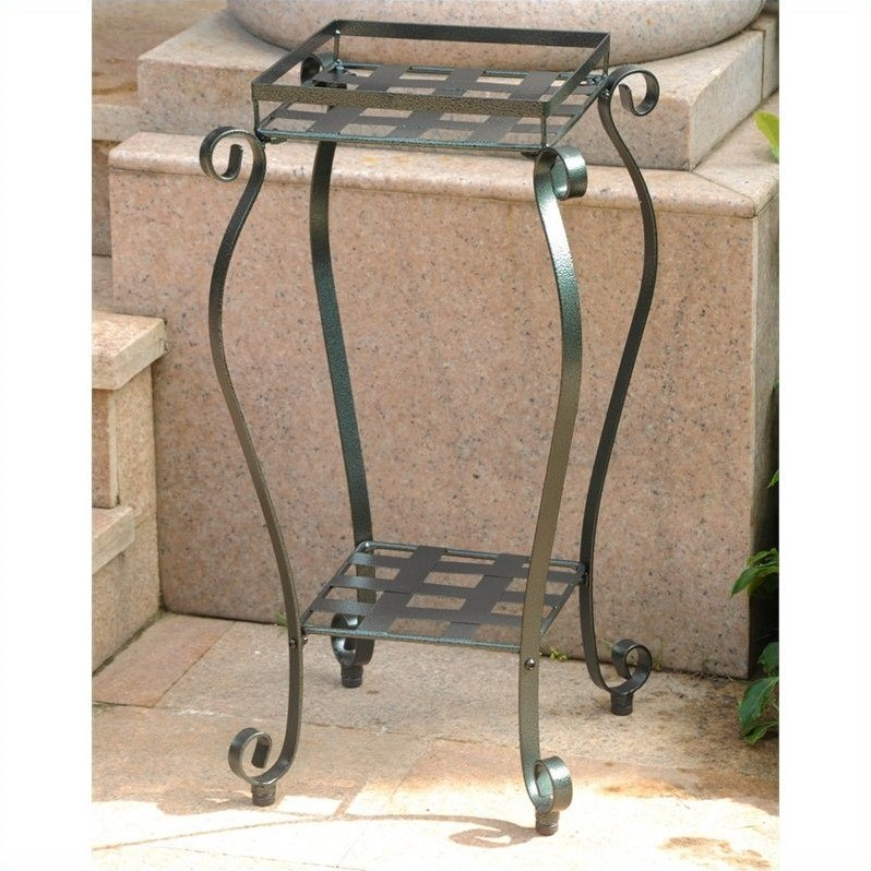 International Caravan Mandalay Iron Plant Stand in Verdi Gris by International Caravan