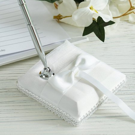 BalsaCircle Silver Pen and White Holder Set with Handmade Bow Ribbon - Wedding Party Accessories Decorations Discounted Supplies - Wedding Pen
