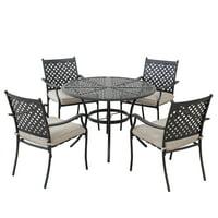 Sunjoy Minnesota Collection 5-piece Black Steel Lattice Dining Set with Beige Seat Cushions