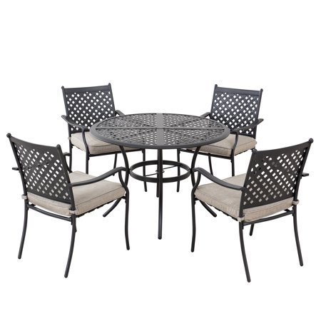 Image of Sunjoy Minnesota Collection 5-piece Black Aluminum Lattice Dining Set with Beige Seat Cushions