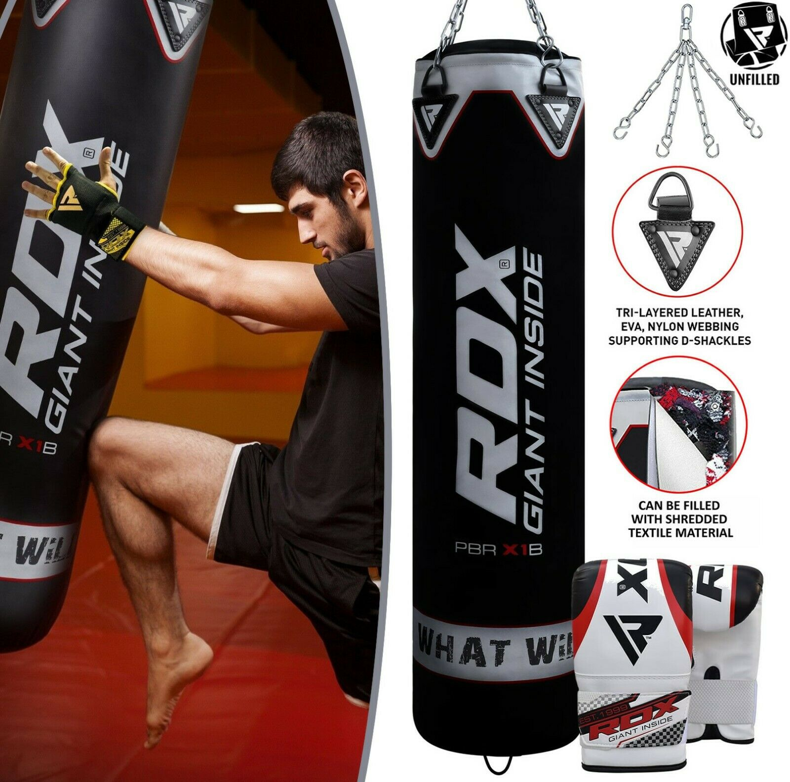 Viper 5ft Heavy Filled Punch Bag Martial Art Boxing Punch Bag MMA GYM Fight