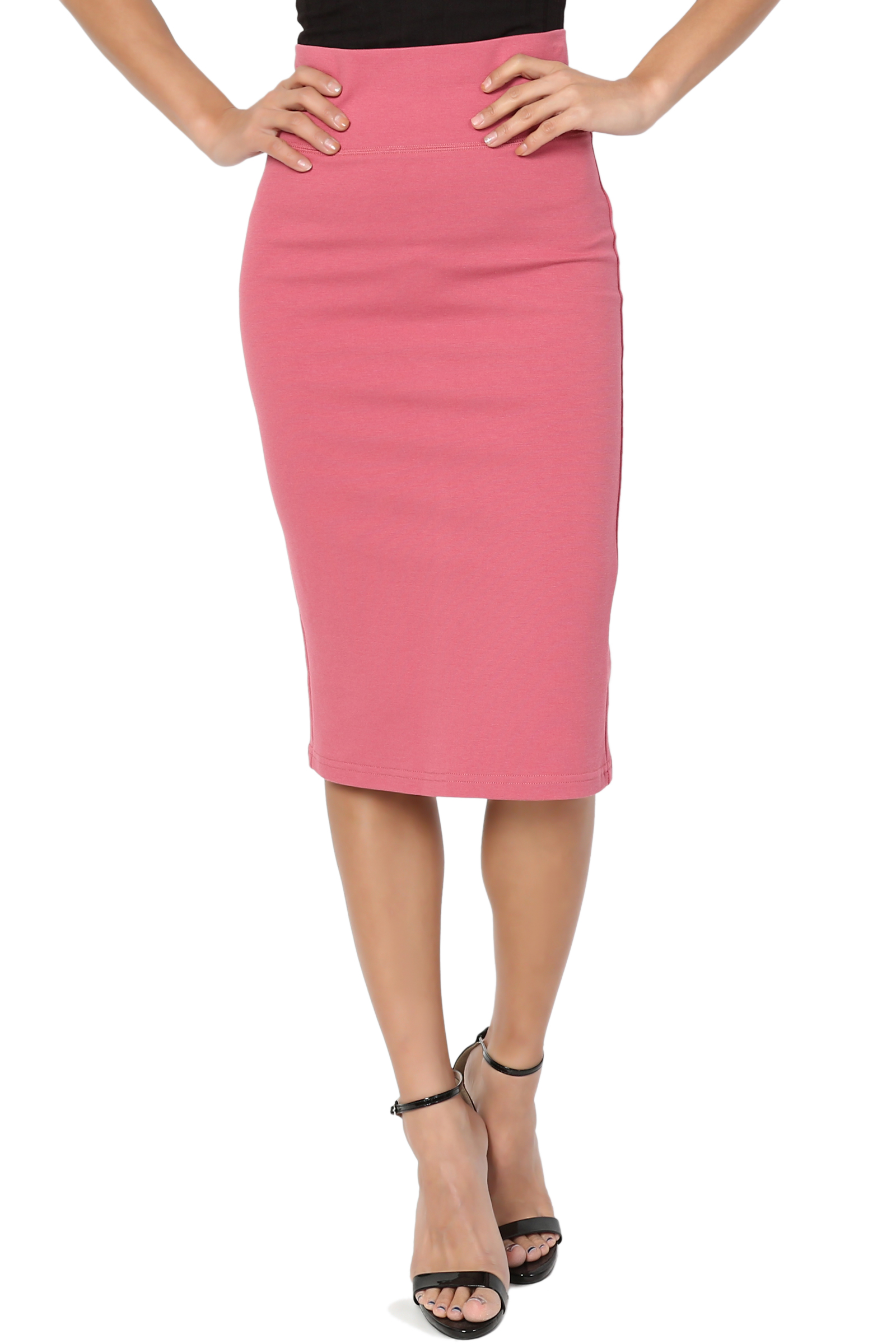 TheMogan Junior's PLUS Curvy 4 Way Stretchy Ponte Knit Knee Length Midi Pencil Skirt