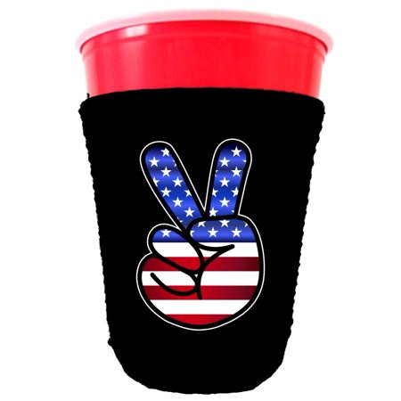 Black Grey Peace Sign (America Peace Sign Neoprene Collapsible Solo Cup Coolie (Black))