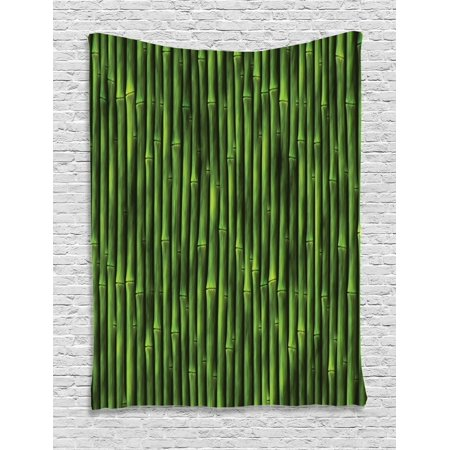 Bamboo Tapestry, Bamboo Stems Pattern Tropical Nature Inspired Background Print Asian Wildlife Zen Theme, Wall Hanging for Bedroom Living Room Dorm Decor, Green, by Ambesonne
