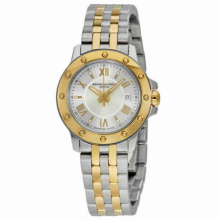Raymond Weil Tango Silver Dial 18kt Gold and Steel Ladies Watch
