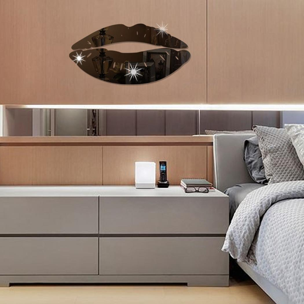 Modern 3D Lips Removable Home Room Decor Wall Mirror Sticker Art Decal Caroj - image 3 de 5