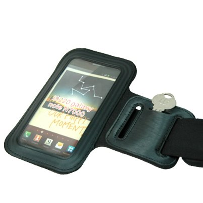 Armband Sports Gym Workout Cover Case Arm Strap Jogging Band Pouch Neoprene Black YNR for Alcatel Fierce 4, Idol 4, One Touch POP ICON 2, Tru - Blackberry DTek50, Priv - BLU Advance 5.0, Life One X2
