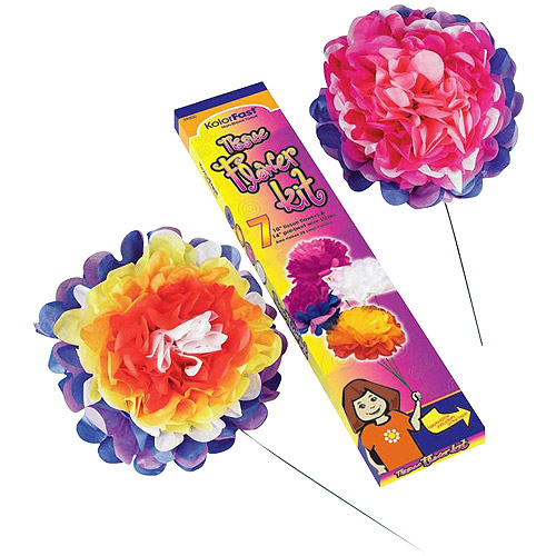 Kolorfast Pre-Cut Tissue Flower Kit with Instructions, 10 Inches, Assorted Color, Pack of 84