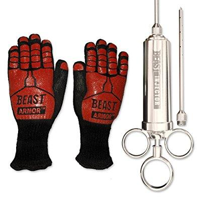 Grill Beast - Stainless Steel Meat Injector Kit with BBQ Grilling Cooking Gloves - Smoker and Kitchen Accessories 2pc Combo Kit