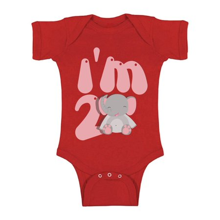 Awkward Styles I am Two Elephant B Day Clothes Second Birthday Bodysuit for Baby Elephant Gifts for 2 Year Old Elephant Themed Birthday 2nd Birthday Outfit for Baby Boys and Baby Girls Birthday Gifts](Gifts For 2 Year Olds)