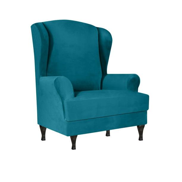 Gadotor 2 Piece Stretch Velvet Wingback, Velvet Wing Chair Cover