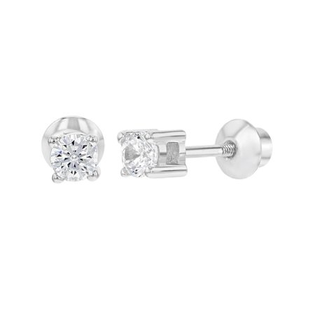 925 Sterling Silver Cz Tiny Round Back Earrings For Toddlers 3mm