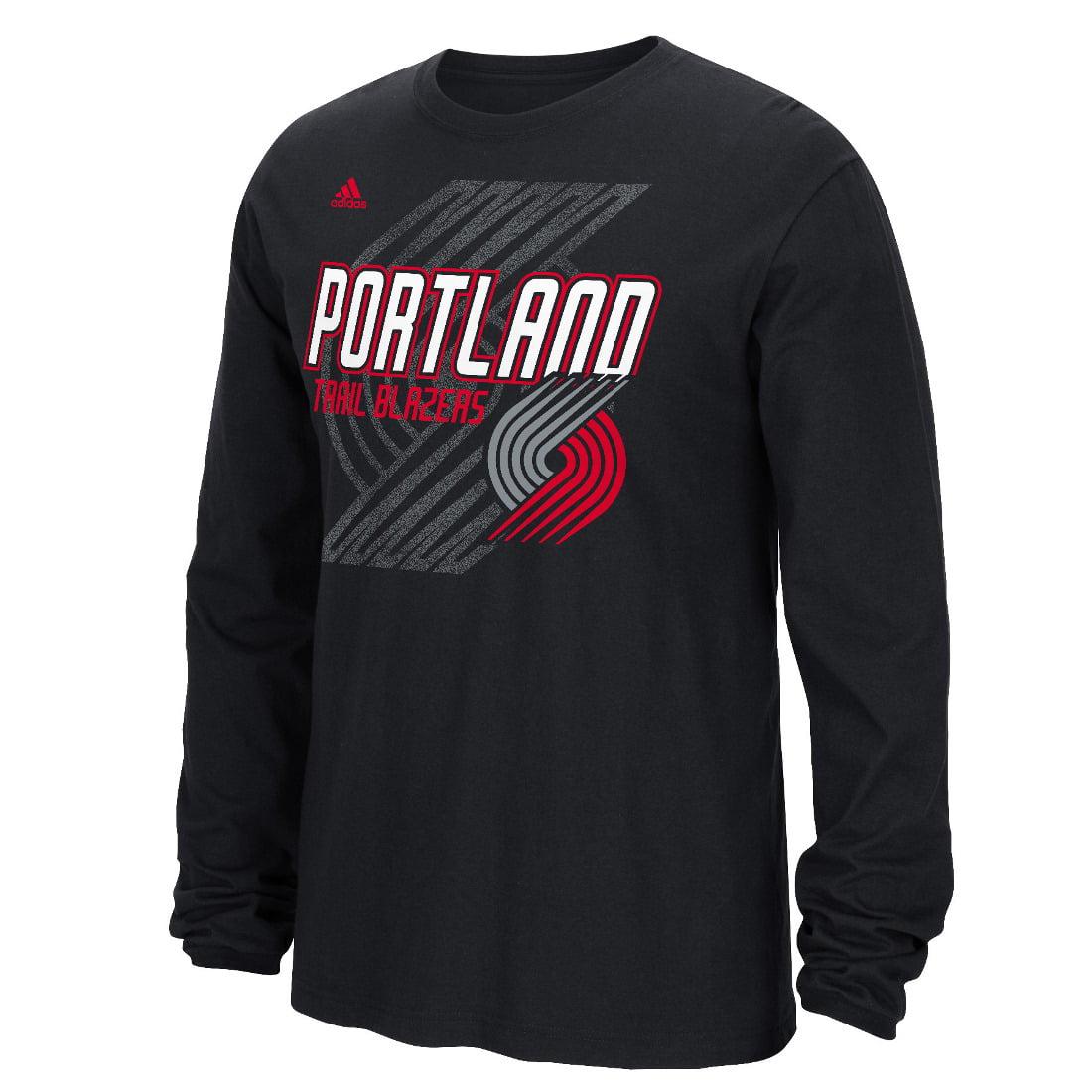 Portland Trail Blazers Adidas NBA Distressed Back Logo Men's Long Sleeve T-Shirt by Adidas