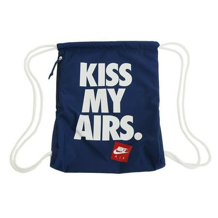 65d7ddf65431f Nike - Nike Kiss My Airs Heritage Drawstring Gym Sack-Navy Blue-One Size -  Walmart.com