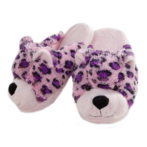 My Pillow Pets Pink Leopard Plush Slippers Small