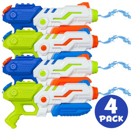 Best Choice Products Set of 4 Kids Outdoor Multicolor Water Gun Soaker Blasters w/ Pump-Action, 1.3L Capacity, 20ft