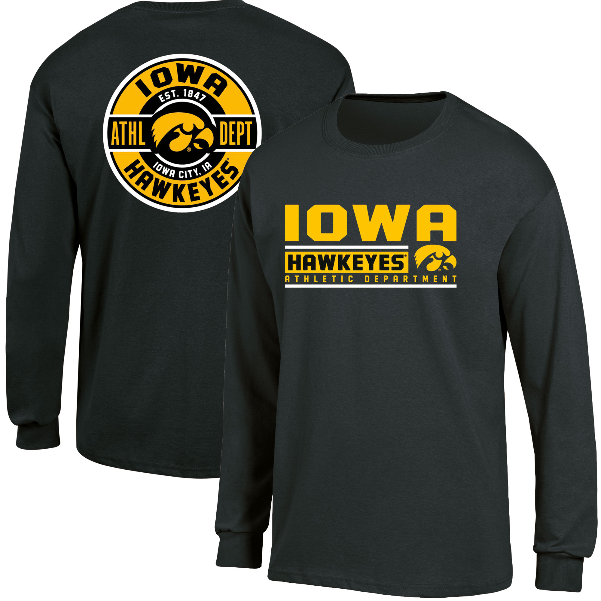 Men's Russell Black Iowa Hawkeyes Back Hit Long Sleeve T-Shirt