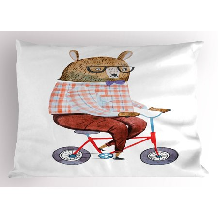 Funny Pillow Sham Cartoon Bear Dressed up in Hipster Clothes Riding a Bike Watercolor Urban Character, Decorative Standard Size Printed Pillowcase, 26 X 20 Inches, Multicolor, by Ambesonne (Easy Movie Characters To Dress Up As)