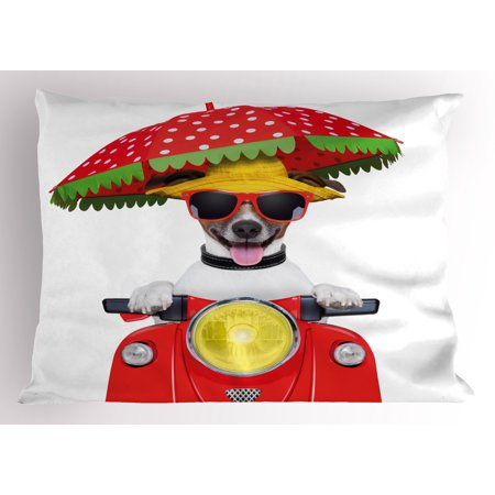Animal Pillow Sham Dog with a Hat and Sunglasses Driving Motorcycle Under An Umbrella Funny Holiday Image, Decorative Standard Queen Size Printed Pillowcase, 30 X 20 Inches, Red, by Ambesonne (Sunglasses Funny)