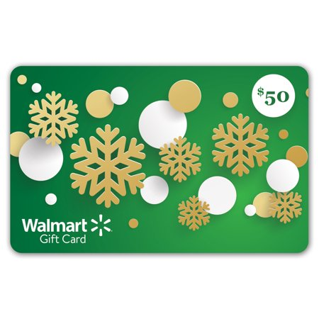 Five Dollar Gift Card - Green Snowflakes Walmart Gift Card