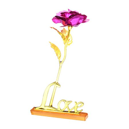 US 24K Gold Plated Rose Flower Romantic Valentine's Day Birthday Girlfriend Gift Decor Floral Collection Rose